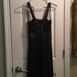 Sky Black dress with leather accents